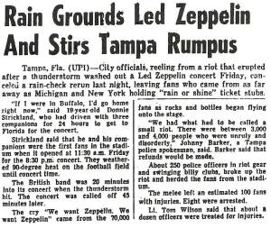 Led Zeppelin Concert Memories: Tampa Stadium, Florida 3rd June 1977